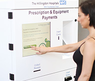 Healthcare kiosk taking prescription payments