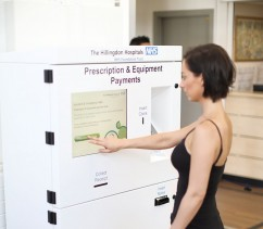 Prescription payment kiosk at NHS Hospital