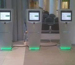 Reception self check in points