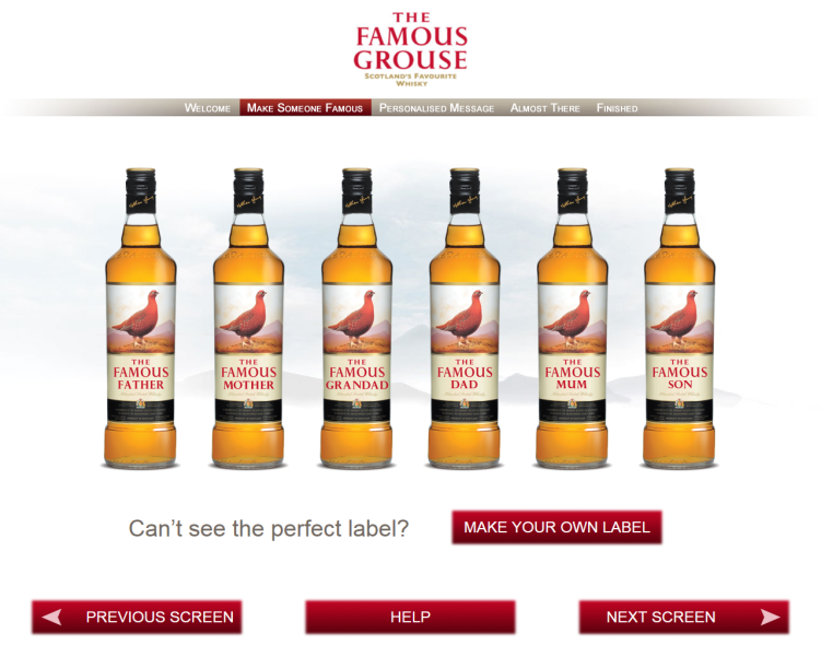 The Famous Grouse Custom Labeled Bottles