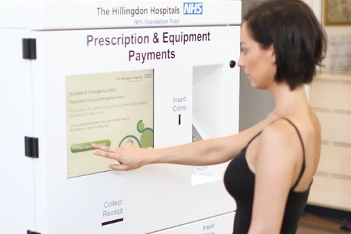 Paying for a prescription using a kiosk